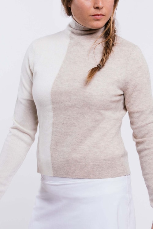 foray golf Colorblock Cashmere Funnel Neck