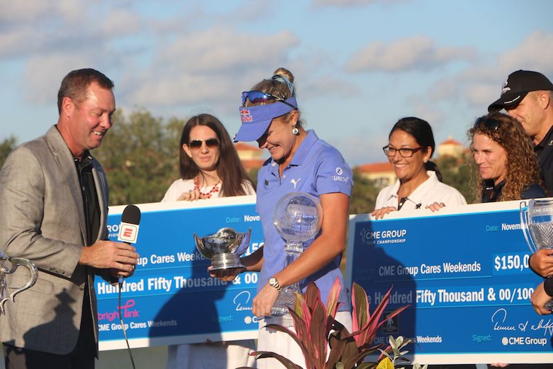 Lexi Thompson smiles after winning the CME