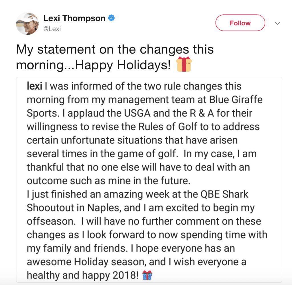 Lexi Thompson Twitter