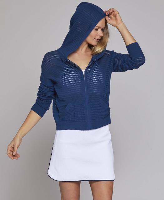 cashmere golf hoodie l'etoile sport luxury women's golf apparel